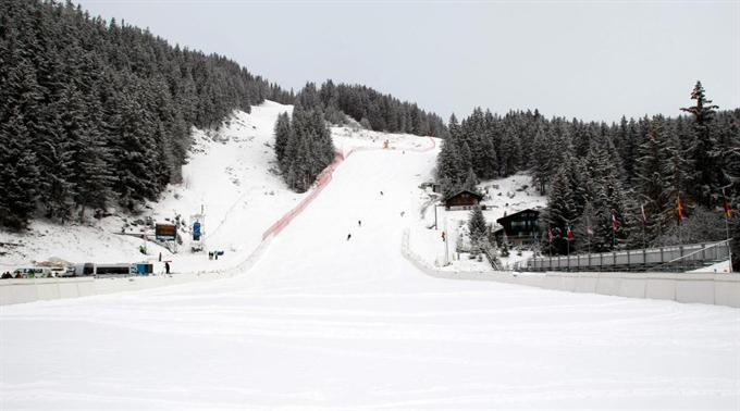 Zieleinfahrt der Crans-Montana-Slalom-Strecke.