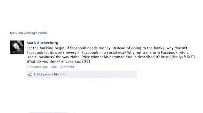 Diese Nachricht erschien auf der Fan-Page von Facebook-CEO Mark Zuckerberg.